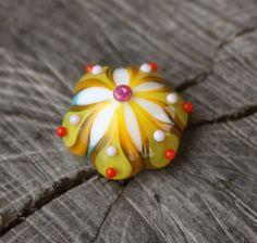 Sunshine Yellow Handmade Lampwork Ring Topper by Phishstuff on Etsy