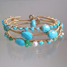 Turquoise Wire Wrapped Gold Filled Bangle by bellajewelsII on Etsy