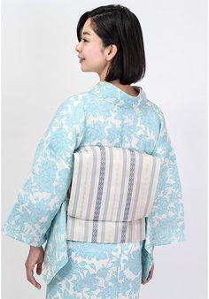 くるりの夏帯、独鈷、花皿、子持縞の融合。着物にも、浴衣にも◎くるりオリジナル帯