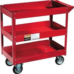 Amazon.com: THREE TRAY ROLLING TOOL CART: Home Improvement  This might work great for my crafts/painting supplies.