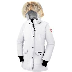 Canada Goose 'Trillium' Regular Fit Down Parka with Genuine Coyote Fur... (6.435 NOK) ❤ liked on Polyvore featuring outerwear, coats, white, fur trim hooded parka, white parka, hooded parka coat, fur trim hooded coat and fleece lined coat