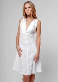 100% Linen Cut & Sew Plunge-Neck Knee-Length Dress in White | Shop | Claudio Milano
