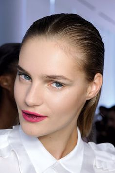 Ombre lips and slicked back hair. Photo by Anthea Simms
