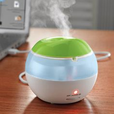 USB-powered Personal Humidifier improves dry air in office, bedroom or hotel.