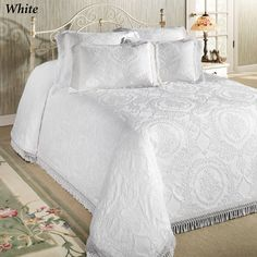 White Coverlet, White Bedspreads, Coverlet Bedding, Chenille Bedspread, White Pillows, Linen Bedding, Bedding Sets, Damask Bedding, Bed Linens