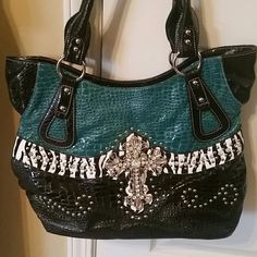 Purse Turquoise and Black shoulder purse Used once Bags Shoulder Bags