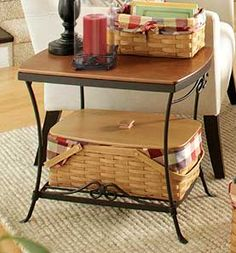 Longaberger's Wrought Iron Library Table makes a great end table in the family room or night stand in the bedroom.