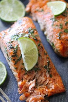 Baked Cilantro Lime Salmon - salmon fillets, salt, pepper, limes, honey (sub another sweetener), minced garlic, fresh cilantro