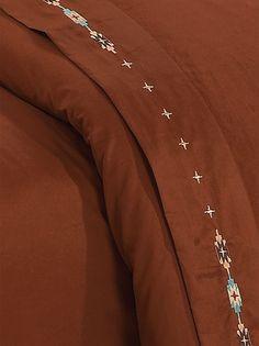 Embroidered #Navajo #Sheets - Copper #BeddingNMore  #Southwestern #Home #Decor