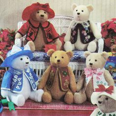 Vintage 1997 Teddy Bears and Clothes with Transfers! Simplicity Crafts Sewing Pattern 7895, Elaine Heigl Designs, UNCUT with FACTORY FOLDS by karl79 on Etsy