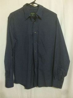 5ad8394fe1fe Eddie Bauer Navy Blue White Plaid Button Down 100 Cotton Plaid Shirt Men  039 s M