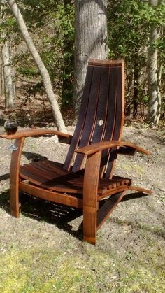 Chair made out of Wine Barrel Staves.  Perfect gift for the wine lover that has everything but a place to sit...