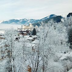 The village of Kaprun blanketed in snow with the century Burg In the distance Snow Travel, Alpine Village, Visit Austria, 12th Century, Alps, Pretty Pictures, Winter Wonderland, Distance, Travel Photography