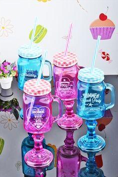 Kitchen World - 4 lü Pipetli ve Ayaklı Limonata Shake Bardak Seti Renkli CAM-186 %60 indirimle 49,99TL ile Trendyol da
