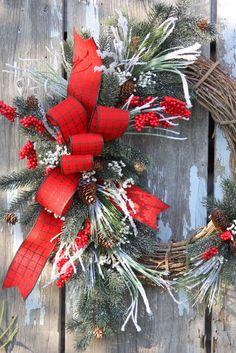 Christmas Wreath, Snowy Pine, Red Berries, Plaid Ribbon, Grapevine