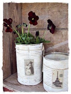 Tin can wind chimes by jeanne hildrew decoupage uk Tin Can Crafts, Fun Crafts, Diy And Crafts, Arts And Crafts, Recycle Cans, Recycling, Tin Can Art, Craft Projects, Projects To Try