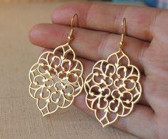 Large Gold earrings HOOKS or Clip on Earrings Matte by acanthusjd