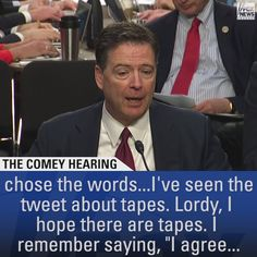 """""""Lordy, I hope there are tapes.""""  Former FBI Director James Comey says he hopes the tapes President Donald J. Trump mentioned in a tweet do exist. http://fxn.ws/2rFp1Wf"""