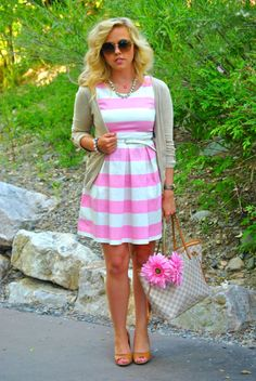 Pink and White Stripe outfit.