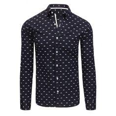 Luxusní tmavě modrá pánská košile slim fit s bílým vzorem - manozo.cz Fit S dd97157cde