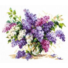 Lilac in Vase Cross Stitch Kit Embroidery Thread, Beaded Embroidery, Cross Stitch Embroidery, Thread Organization, Snow Maiden, Counted Cross Stitch Kits, Embroidery Techniques, Cross Stitch Designs, Close Image