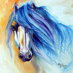 Daily Paintings ~ Fine Art Originals by Marcia Baldwin: STARLIGHT MANE BLUE ART ORIGINAL OIL PAINTING by EQUINE ARTIST MARCIA BALDWIN