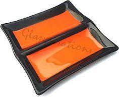Zingy Orange Canape Dish by GlasspirationsUK on Etsy, £45.00