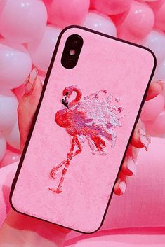 Flamingo Embroider  iPhone 6, iPhone 6 Plus, iPhone 7, iPhone 7 Plus, iPhone 8, iPhone 8 Plus,iPhone X Protective Case For Cute Girl