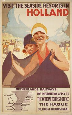 Vintage Railway Travel Poster - The Seaside Resorts of Holland - Nederlandsche Spoorwegen (NS) - Dutch Railways. Bus Travel, Travel And Tourism, Travel Ads, Tourism Poster, Tourist Office, Vintage Boats, Old Advertisements, Art Deco Posters, Seaside Resort