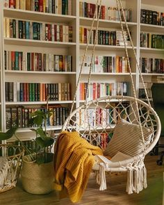 Love this mini home library with a simple hanging chair as a seating spot to get the maximum wall space for bookshelves as a reading room interior idea. My New Room, My Room, Home Libraries, Home Interior, Home Fashion, My Dream Home, Room Inspiration, Home Furniture, Smart Furniture