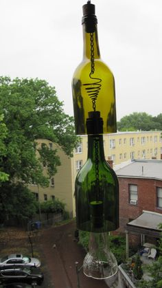 Recycled Glass Wine Bottle Wind Chime by OliveStreetCrafts on Etsy