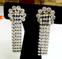 "Vintage Napier Clear Rhinestone Fringe Silver Tone Clip Earrings 2-5/8"" Long #Napier #DropDangle"