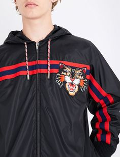 GUCCI Tiger-embroidered shell jacket