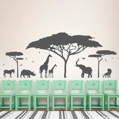 African Safari Wall Decal Zoo Wall Decal by WallumsWallDecals