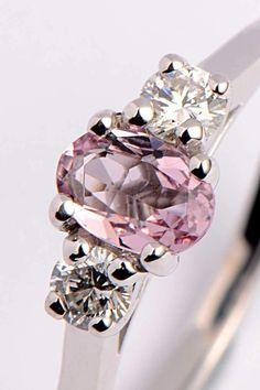 Morganite and diamond 9ct white gold ring