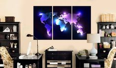 Aquamarine large world map poster canvas set panels aquamarine map large modern neon light world map canvas print gumiabroncs Image collections