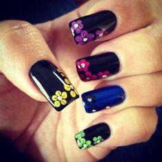 Rainbow multi colored flowers nail art