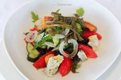 On a warm and sunny day after sunbathing what is better than a Greek salad with caper leaves, barley rusks and Agrafa feta cheese @ Impressions ? Maybe accompanied with a chilled glass of white wine ? Greek Salad, Hotel Spa, White Wine, Sunny Days, Feta, How To Memorize Things, Leaves, Lunch, Restaurant