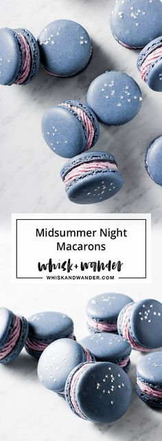 Blueberry Macarons. Midsummer night macarons filled with blueberry buttercream & decorated with edible stars. Macaron recipe for high humidity. via @whiskwander