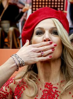 Dutch Queen Maxima gestures during the King's Day celebrations in Groningen, The Netherlands on April / Netherlands OUT Get premium, high resolution news photos at Getty Images Dutch Queen, Kings Day, Dutch Royalty, Royal Jewelry, Queen Maxima, Royal Fashion, Netherlands, Lady, Royals