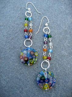 """Somewhere Over The Rainbow""   Boho Jewelry.  Millefiori bead earrings $12"