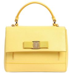 Salvatore Ferragamo Women Small Carrie Saffiano Leather  Bag ($1,000) ❤ liked on Polyvore featuring bags, handbags, shoulder bags, purses, yellow, yellow hand bags, shoulder handbags, yellow handbag, beige shoulder bag and purse shoulder bag