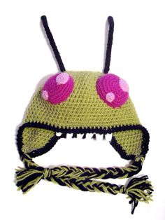 Invader Zim - Crochet Earflap Hat. $30.00, via Etsy.