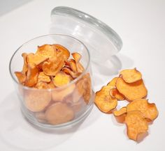 """Sweet Pawtato Chips - You'll need 2 Medium Sweet Potatoes & Chicken Broth. Preheat oven to 400 F. Wash and Scrub Sweet Potatoes. Slice 1/8"""" thick with a mandolin or sharp knife. Place in small bowl and cover with chicken broth. Let soak for 1/2 hour. Take slices out of bowl and place on parchment lined sheet pans. Bake for 25-30 minutes. Remove from oven, and allow to cool."""