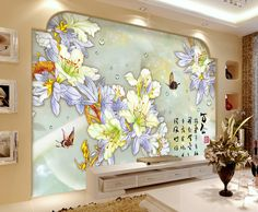 papier peint romantique effet bas relief - les fleurs de lys sur jade