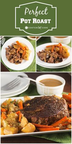 Perfect Pot Roast Recipe ~ with instructions to make it in the oven or slow cooker! Seasoned just right and served with homemade gravy and tender carrots, onions and potatoes, this will be your new go-to recipe! Pot Roast Recipes, Meat Recipes, Slow Cooker Recipes, Crockpot Recipes, Cooking Recipes, Game Recipes, What's Cooking, Recipies, Beef Dishes