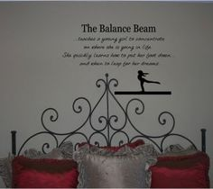 gymnast wall decal  gymnastics balance beam quote girls wall vinyl decal