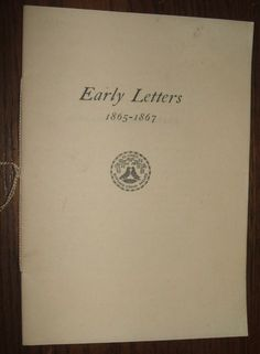 1937 Early Letters 1865-1867 Rowland G. Hazard Rhode Island Vintage Genealogy