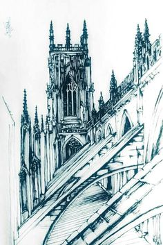 Gothic Church Cathedral Flying Buttresses Pointed Towers Art