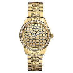GUESS Gold-Tone Animal Textured Ladies Watch U0236L2